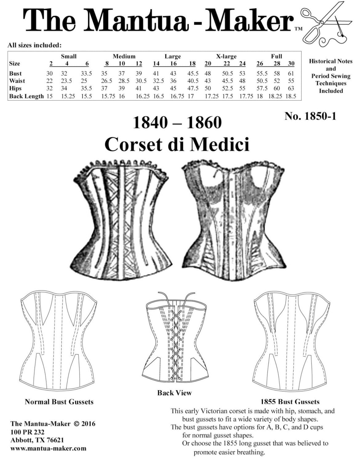 Victorian Corset Pattern: Multi Sized Sewing Pattern for 1840