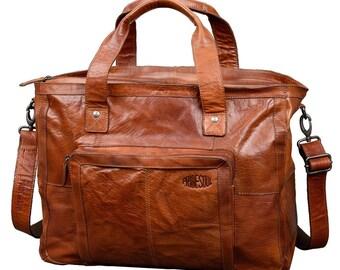 Women's weekender Royal T travel bag vintage retro style brown leather