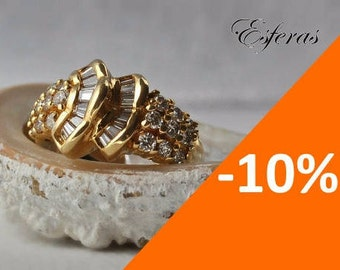 Estate, vintage 18K yellow gold ring with 2,05 cts diamonds - 10% SPRING DISCOUNT