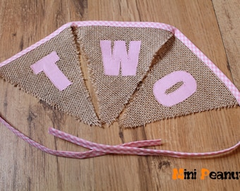 Pink ONE TWO Birthday Banner Bunting-High Chair Banner-Hessian Bunting-Nursery-Birthday-High Chair Bunting-Decoration-Girl