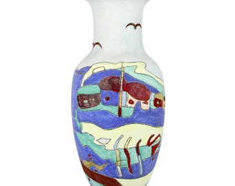 Large Vintage Spanish/Mediterranean Sand Glazed Vase with a colourful village scene - FREE UK SHIPPING