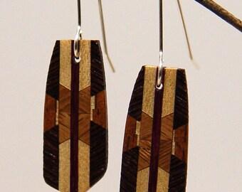 Wood Dangle, Drop, Silver Earwire, Wooden Earrings, earrings, 5-7