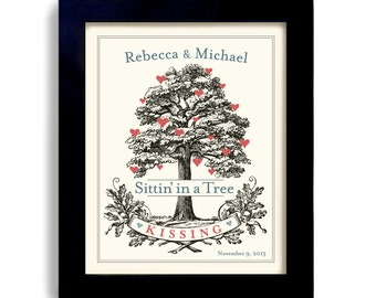 Personalized Wedding Gift - Unique Engagement Gift - Bridal Shower - for Couples - Tree Art Print