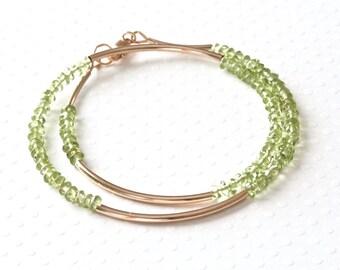 Peridot Bracelet, Beaded Wrap Bracelet, Wrap Around Bracelet, Green Bracelet, Gemstone Jewelry, Designer Bracelet, Gold Filled Jewelry