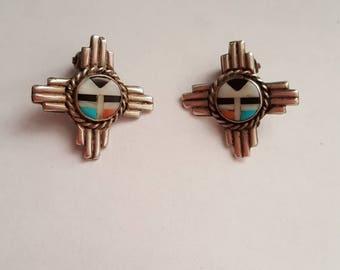 Handmade Vintage Zuni Sun Face Clip Earrings Sterling Silver