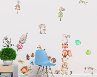 Forest Animals Fabric Wall Decal, Woodland Animals Set - Peel and Stick Removable and Repositionable Stickers