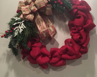 Red Burlap Holiday Wreath