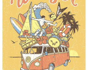 Weezer Mustard Yellow Summer Tour 2016 Surf Beach Gigposter Poster by GIGART