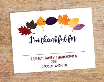 Printable Thanksgiving Photo Booth Props - Thanksgiving Thankful Sign - Printable Thankful For Sign - Custom Thanksgiving Decor
