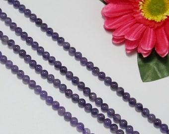 2 Strand Amethyst 6mm round Loose Beads