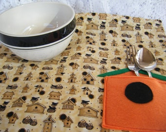 Orange Birdhouse Childs Quilted Placemat - HANDMADE BY ME