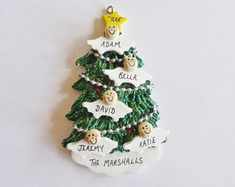 Personalized Angel Tree Christmas Ornament Family of 5 - Grandparents Angels - 5 Grandchildren