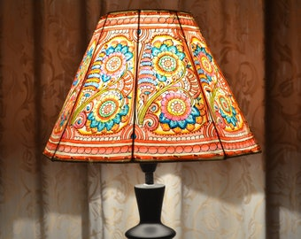Floral lamp shade hand painted leather lamp shade floor multi colour leather lampshade medium lampshade floral lampshade lamp shade indian aloadofball Choice Image