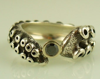SALE - Black Diamond Engagement Ring by OctopusME