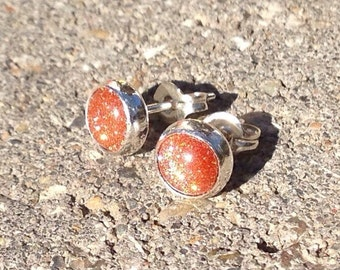 Goldstone Earrings, Brown Goldstone Cabochon Post Earrings in Sterling Silver, Bridesmaids Gifts