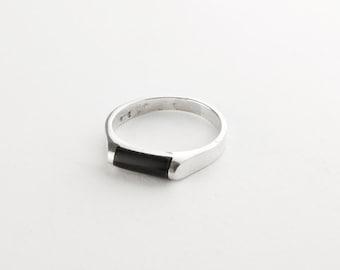 Minimalist Black Onyx Sterling Silver Ring