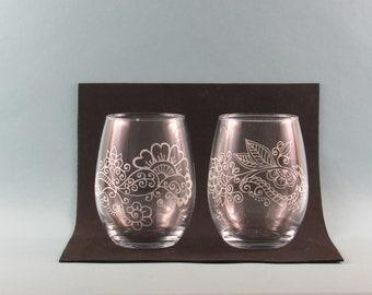 Mandala Design Stemless Wine Glasses, Boho Design Wine Glasses, Hand Painted Stemless Wine Glasses, Set of Two