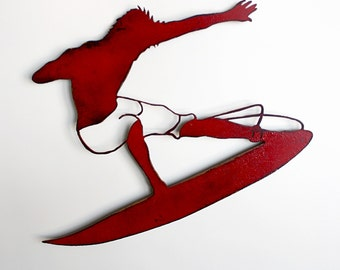 """Surfer metal wall art - Choose 17"""" or 36"""" wide surfer dude - wall hanging painted red rusted steel - choose your color - metal surfer art"""