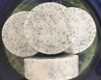 All Natural Minty Lemongrass Poppy Seed Scrub, Goat Milk Melt and Pour Soap, Exfoliating Poppy Seed Soap