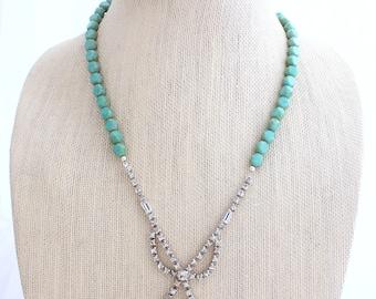 Turquoise Necklace, Rhinestone Necklace, Upcycled Necklace, Bridesmaid Gift, Something Blue,Upcycled Jewelry,Heirloom Jewelry,Something Old