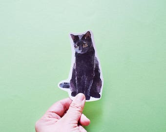 Black Cat Big Individual WATERPROOF Sticker - Vinyl Stickers -Handmade Stickers