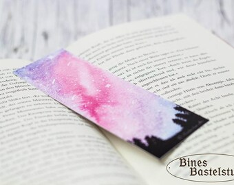 Bookmark #8 Print | Watercolor Bookmark | Galaxy Bookmark | Watercolor Galaxy | Stars | Silhouette