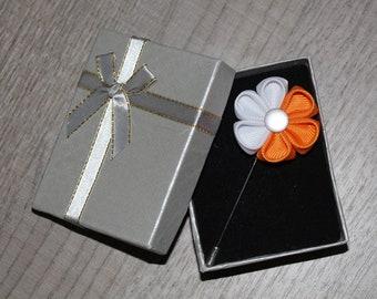 Orange white Lapel pin Orange Boutineer Artificial Flower Wedding Boutonniere Orange Buttonhole Groomsmen Buttonhole Flower Flower lapel pin