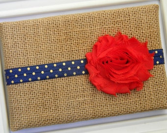 Red Chiffon Flower Headband - Red and Navy Headband