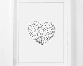 Geometric Heart, Modern Decor, Printable Art, Geometric Art, Wall Decor, Scandinavian Poster, Geometric Poster, Heart Poster, Geometric