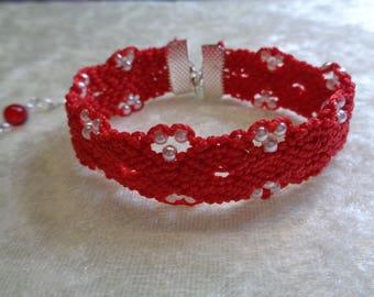Silk string and beads macrame bracelet