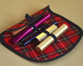 Makeup organizer Red tartan plaid Red makeup holder Wool organizer Cosmetics holder Fabric organizer Roll cosmetic bag Accessories for women
