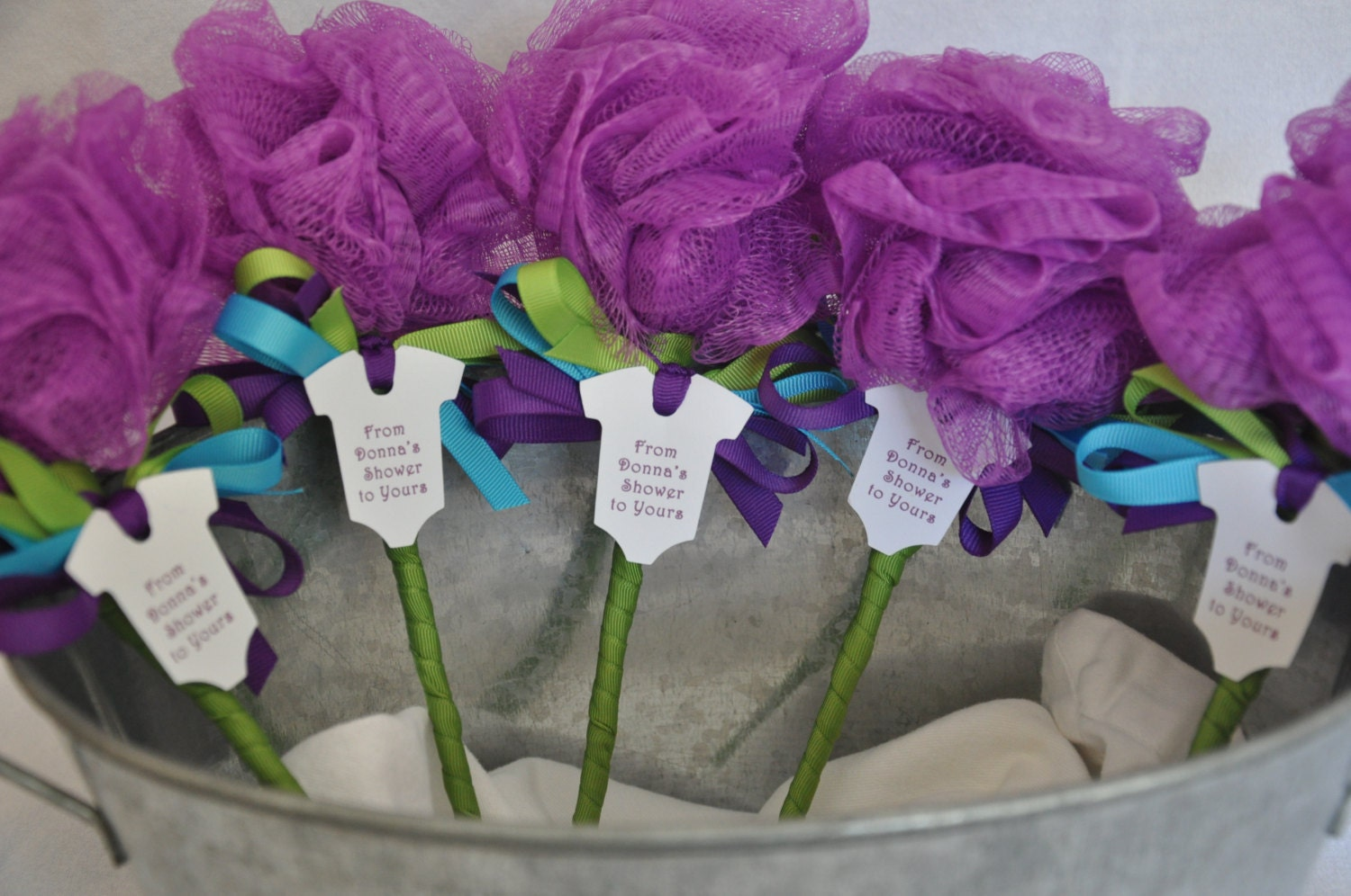 Unique Baby Shower Favor Purple Turquoise and Lime Green Bath