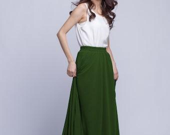 High Waist Long Skirt Chiffon Maxi Skirts Beautiful Elastic Waist Summer Skirt Floor Length Women Skirt (301) ,73#