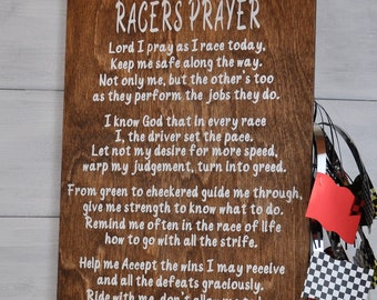 Racers Prayer, Racing Decor, Racing Sign, Wood Sign, Dirt Track Racing Sign, Race Track, NASCAR, Gift For Race Car Driver, Home Decor