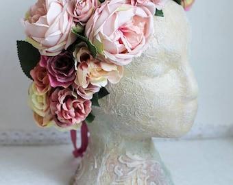 Rose Austin Pink Flower Crown Beige Flower Crown Ivory Flower Crown Purple Crown Lilac Flower Crown Boho wedding Rustic crown Boho crown