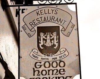 Ireland Photography, Kelly Sign, Irish Restaurant, Sign Photo, Fine Art Print, Sepia Style, Kelly Coat of Arms, Wall Decor, Art Print,
