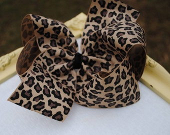 "6"" Leopard Bow - Khaki, Black Leopard Print Large Bow - Boutique Hair Bow Hairbow with Tan Cheetah Print Ribbon - Choose 3"" 4"" 5"" 7"" 8"" Bow"