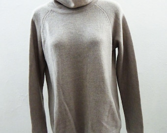 100% Cashmere Sweater Size M Light Gray Funnel Neck Max Studio Front Pockets