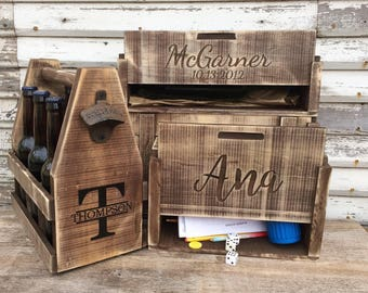 Personalized Aged Wood Wine Box, Personalized Wedding & Holiday Host Gift Tote