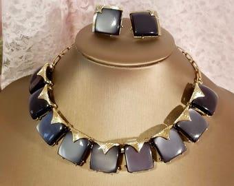Coro Gray Moonglow Thermoset Lucite Plastic Stone Gold Tone Necklace & Clip Earrings Demi Parure Set | Vintage 1950's | Excellent Condition