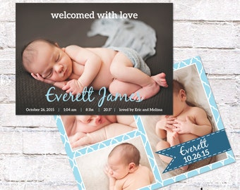 Birth Announcement - Welcomed with Love. Baby Boy or Baby Girl - customize colors. Option for double sided card. Personalized - Digital File
