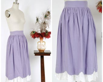 Vintage 1950s Skirt - Summer Ribbed Cotton 40s Skirt with Scalloped Hem