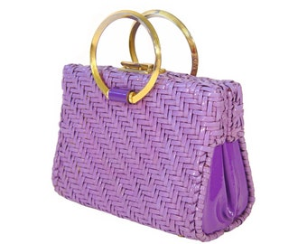 Vintage Wicker Handbag, Violet and Lavender, Vintage Late 1950s