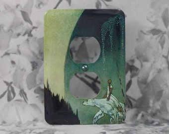 Metal Fairy Tale Outlet Cover - East of the Sun and West of the Moon - 10DR Dual Outlet - Kay Neilson Illustrations