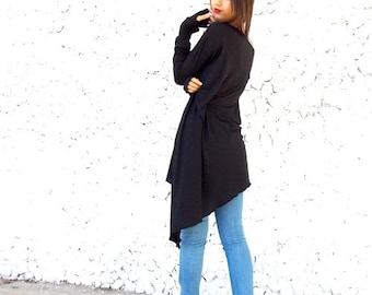 Plus Size Tunic / Black Cotton Top / Loose Tunic / Oversize Black Tunic / Asymmetric Knitted Top / Long Sleeved Tunic TT04