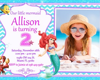 Little Mermaid Invitation Ariel Invitation Little Mermaid Birthday Ariel Birthday