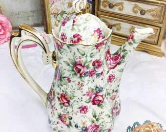 Dainty Pink Rose Floral Chintz Teapot, Chintz Coffee Pot, Shabby Chic Teapot for Tea Party, Wedding, Bridal or Baby Shower, Tea Time #A14