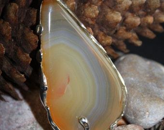 Brazil Agate Pendant set in .925 Sterling Silver Large Teardrop