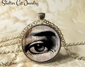 "Eye Illustration Necklace - 1-1/4"" Circle Pendant or Key Ring - Wearable Art Photo - Vintage, Human Eye, Gothic, Black and White, Gift"