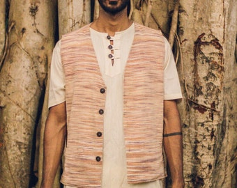 Earthy man Summer Outfit >>~•》YOGA Fisherman Pants + Cotton Short Sleeves fringed Shirt + Earthy khadi cotton Men vest ~ Outfit (OS11)